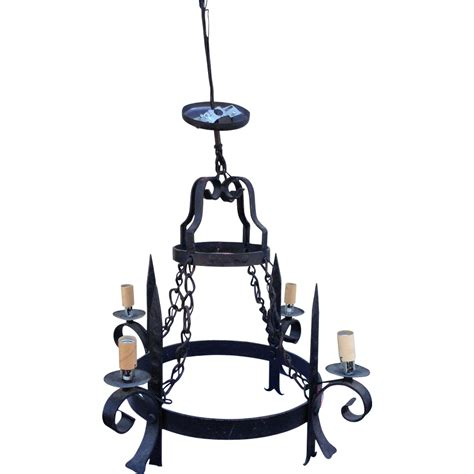 Vintage French Wrought Iron 2 Tier Chandelier From 2 Tier Chandelier