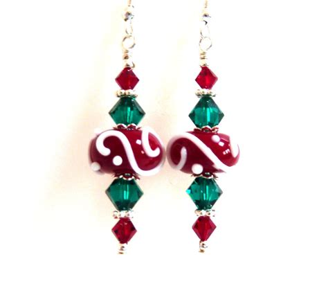 images of christmas jewelry christmas earrings red green white swirl glass beaded