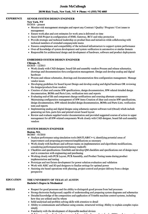 design engineer resume exles system design engineer resume sles velvet jobs
