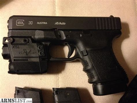 armslist for trade glock 30sf with viridian x5l green