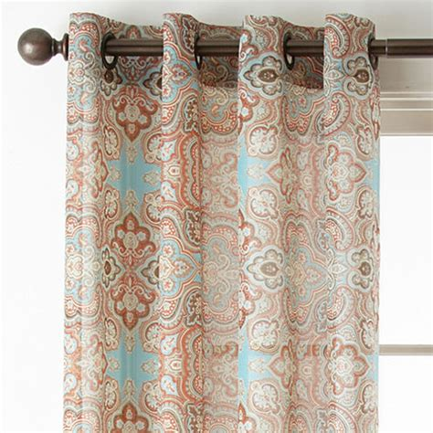 sheer paisley curtains jcpenney home batiste paisley grommet top sheer curtain