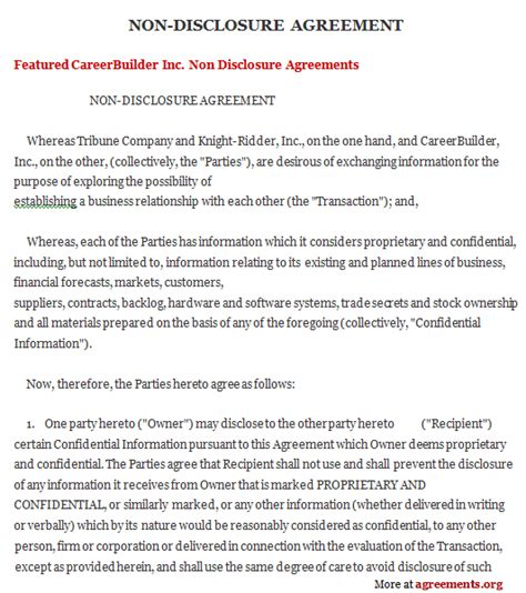 non disclosure and confidentiality agreement template non disclosure agreement template cyberuse