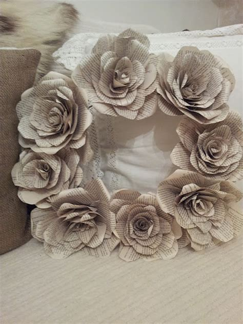 paper flower wreath tutorial book page flower wreath wreaths to make pinterest