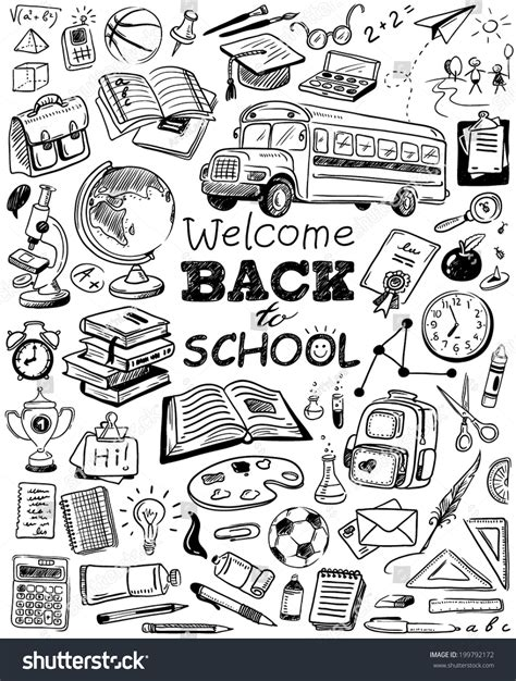 doodle school free handdrawn back school doodles stock vector 199792172