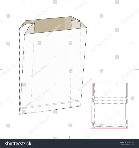 Paper Bag Die Cut Template Stock Vector 303757202 Shutterstock Paper Bag Die Cut Template