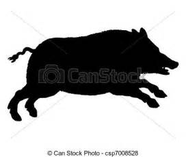 vector of the black silhouette of a running wild pig on