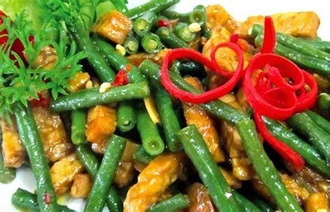 resep tumis kacang panjang tempe pedas  enak