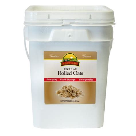 Shelf Of Rolled Oats by Augason Farms Oats Regular 4 Gallon Pail