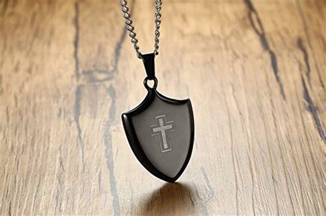 Vnox Men's Stainless Steel Christian Cross Holy Shield Tag