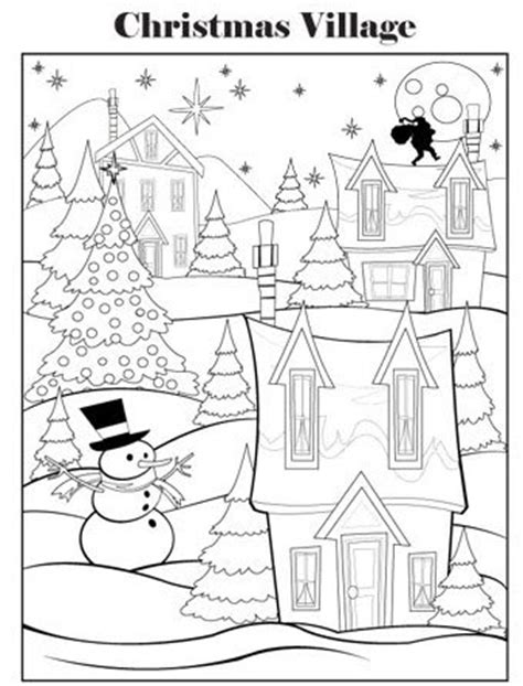 coloring pages christmas village christmas coloring pages color in christmas pictures