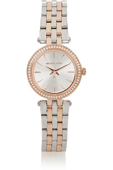 Michael Kors Mk032 Rosegold C lyst michael kors darci stainless steel and gold tone in metallic