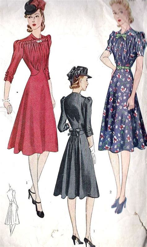 Fc Dress Fashion 1 1930s misses day dress or cocktail dress vintage sewing pattern with flaring in back and fitted