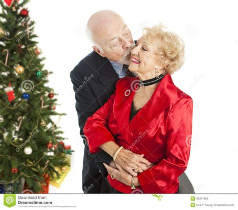 holiday seniors christmas kiss stock photo image 47217952