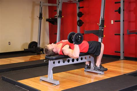 dumbbell bench press exercise one arm dumbbell bench press exercise guide and video