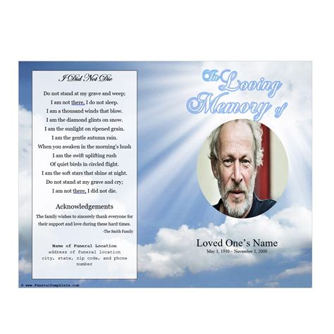 memorial phlets free templates sky memorial program funeral phlets
