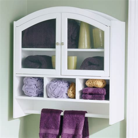 Storage In Bathroom Bathroom White Wooden Wall Mounted Bathroom Cabinet With Four Open Shelves And Basket Towel