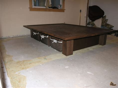 how to build platform bed frame with storage diy
