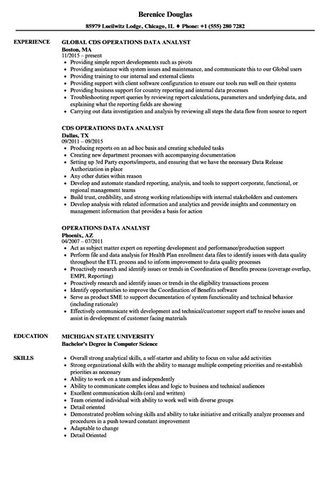 resume format for data analyst operations data analyst resume sles velvet
