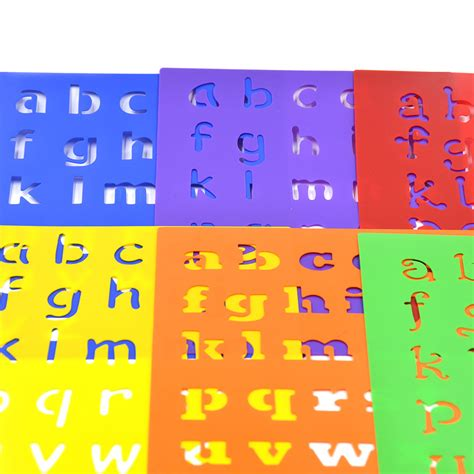 6 design plastic alphabet letter drawing template stencils