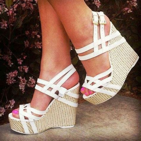 Pretty Heels For Summer white wedges wedding wedding white