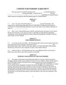 Partnership Agreement Template California Sample California Family Limited Partnership