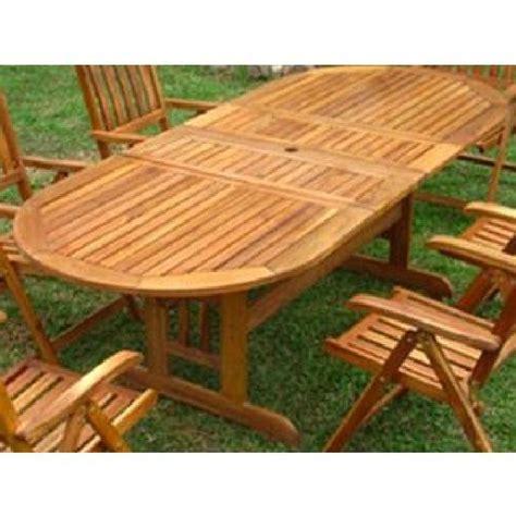 table de jardin ovale bois acapulco avec rallonge table