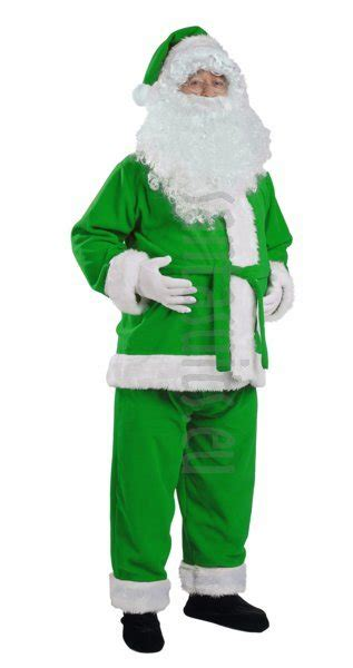 green santa suit jacket trousers and hat santa suits