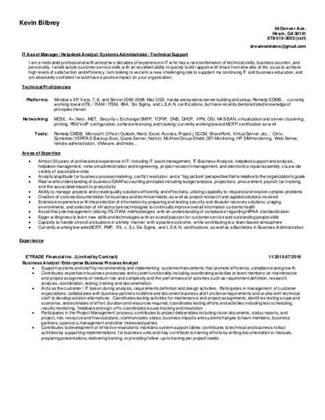 kevin bilbreys resume 2016 with proficiencies