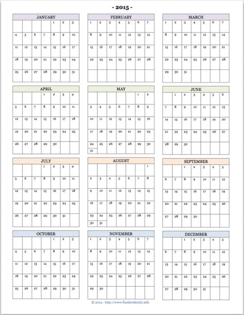 Printable Calendar At A Glance | 2015 year at a glance new calendar template site