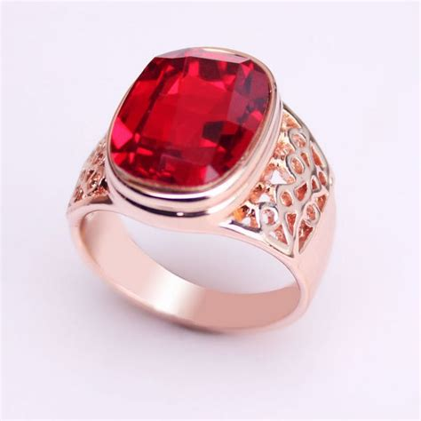 red stone rings shop for red stone rings on polyvore aliexpress com buy 18k rose gold gp crystal big red