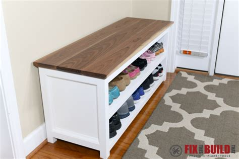 Entry Bench With Shoe Storage White Entryway Shoe Bench Diy Projects