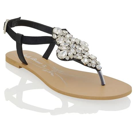 sparkly sandals flat womens flat t bar sparkly sandals rhinestones