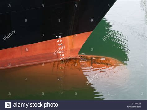ship draft bow of a ship with draft scale numbering stock photo