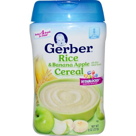 Gerber Rice And Banana Apple Baby Cereal 8 Oz gerber rice banana apple cereal 8 oz 227 g iherb
