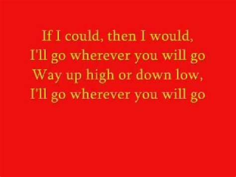 testo wherever you will go the calling wherever you will go lyrics