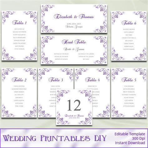 Items Similar To Printable Wedding Seating Chart Template Diy Purple Silver Gray Reception Table List Wedding Template