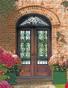 Elegant front doors iron wood entry doors front