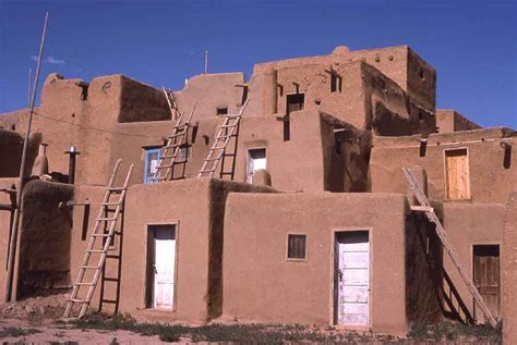 Pueblo Indian Homes by Modern Concession Many Houses Now Doors