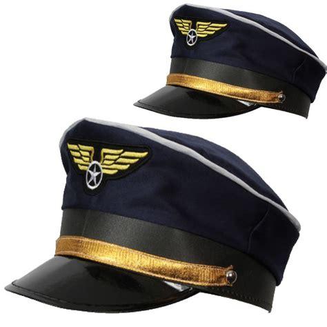 blue airline pilot hat cap mens captain fancy dress accesory ebay