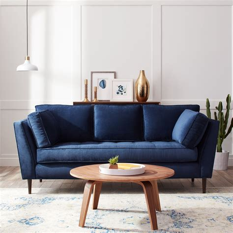 James Mid Century Sonoma Navy Blue Sofa Fabric Navy Navy Blue Couches Living Room