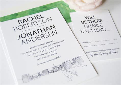 custom wedding invitations san jose ca san jose skyline wedding invitations