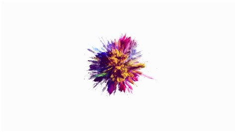 explosion of colors cg animation of color powder explosion on white background