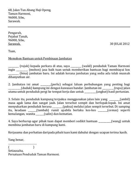 contoh surat rasmi permohonan bantuan pelajaran 28 images contoh