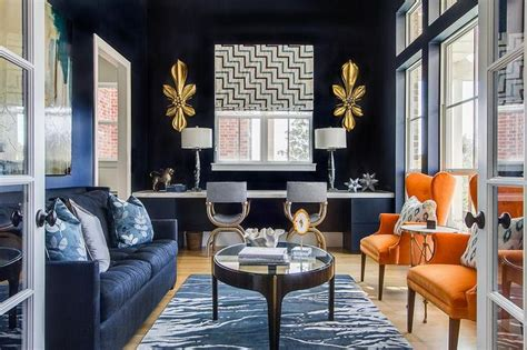 navy blue and orange living room navy blue ej interiors living rooms navy walls gold accessory