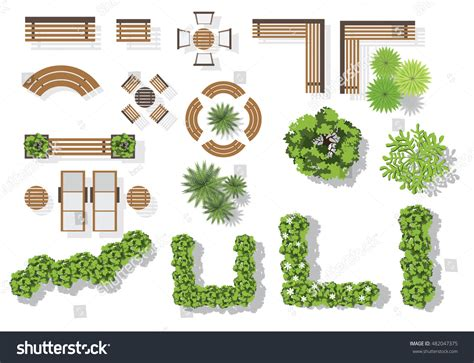 bench plan view set vector wooden benches treetop symbols stock vector