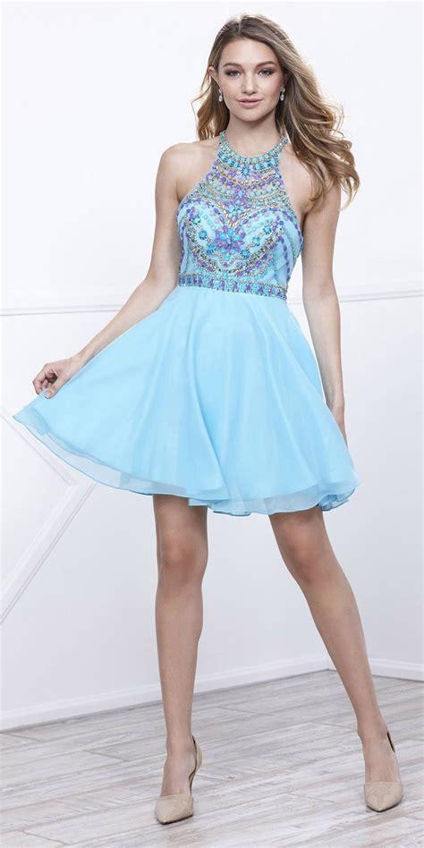 beaded top prom dresses beaded top neckline halter prom dress aqua