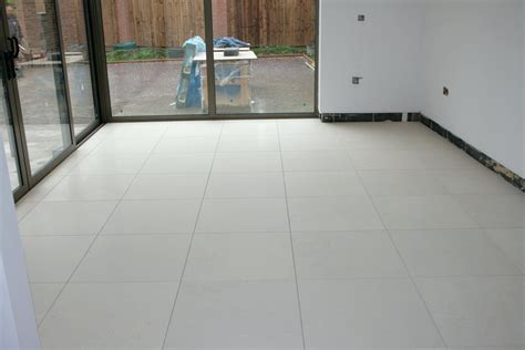 White Tile Kitchen Floor White Limestone Laminate Flooring