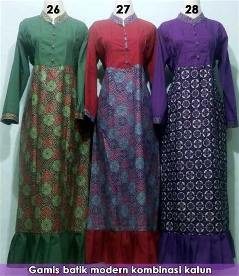 gamis batik kombinasi modern grosir batik pekalongan termurah baju batik pria dan wanita