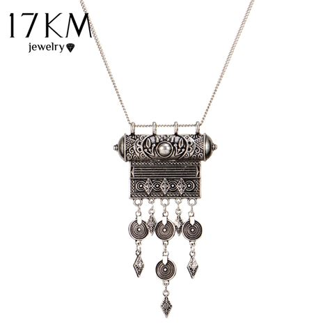 old pattern gold necklace 17km ethnic jewelry long tassel necklace for women vintage