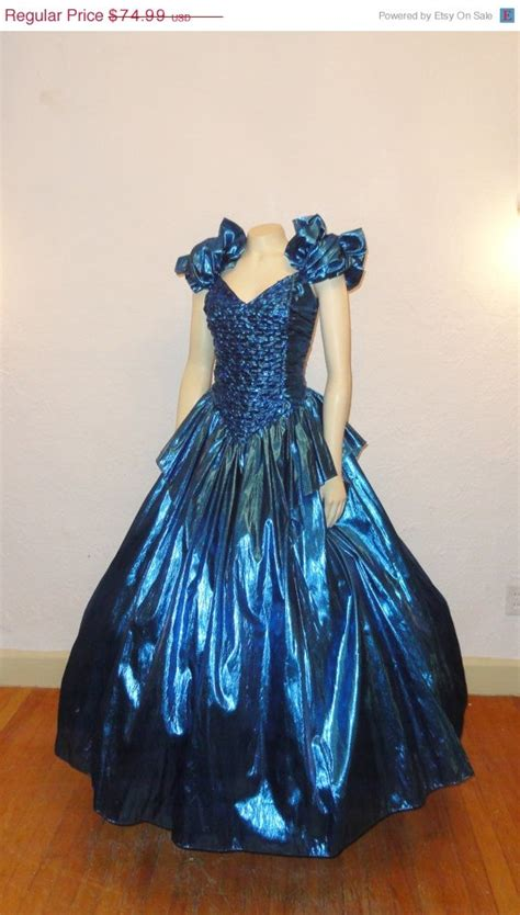 Vintage Ball Gown Metallic Blue S S Prom Dress